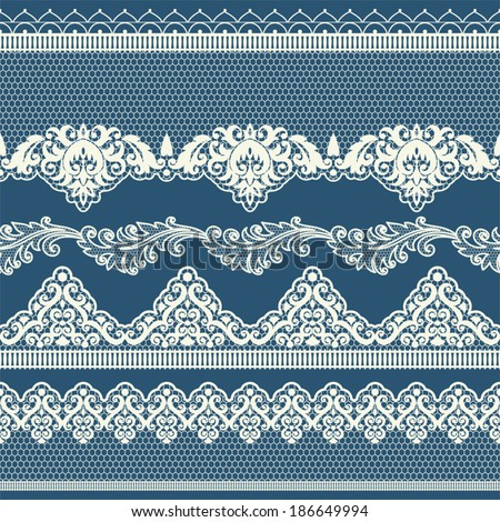 Set of vintage lace borders. Could be used as divider, frame, etc - stock vector
