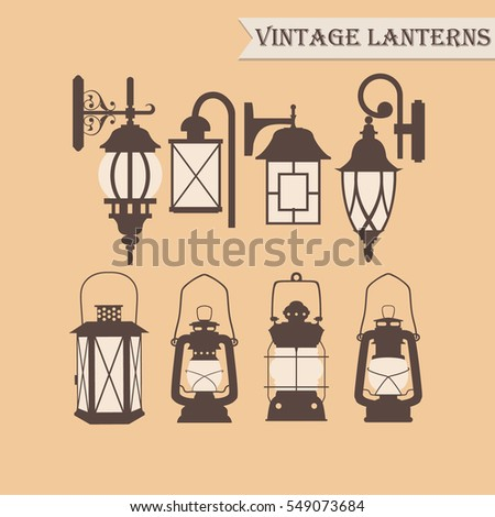 Set of vintage lanterns. Vector illustration.