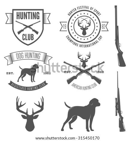 Set of vintage logo, badge, emblem or logotype elements for hunting club and gun shop - stock vector