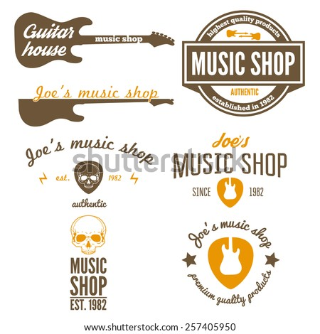 Set of vintage logo, badge, emblem or logotype elements for music shop, guitar shop - stock vector