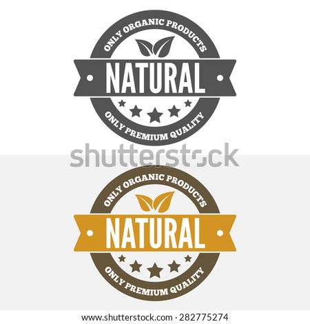 Set of vintage logo, label, badge and logotype elements for organic and natural companies, corporates, cosmetics and food - stock vector