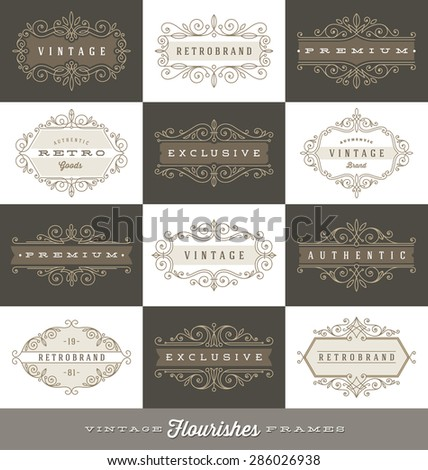 Set of vintage logo template with flourishes calligraphic elegant ornament frames - Vector illustration - stock vector
