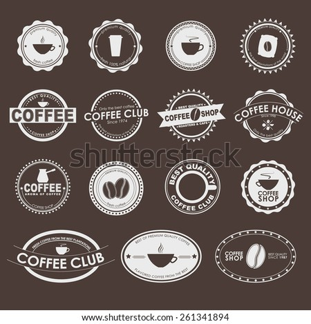 Set of vintage logos on a brown background, coffee shops, cafes and restaurants. Vector element design, logos, stickers, icons, business signs.  - stock vector