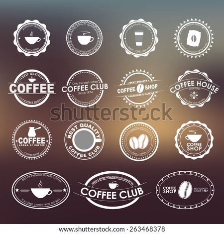 Set of vintage logos on the blurry background, for coffee shops, cafes and restaurants. Vector element design, logos, stickers, icons, business signs