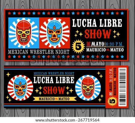 Set of vintage Lucha Libre tickets - stock vector