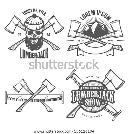 Set of vintage lumberjack labels, emblems and design elements - stock vector