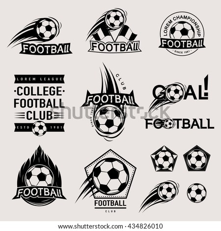 Set of vintage, modern and retro logo badges, labels football game, club, sign Goal, soccer ball. Sport typography text, icons, old emblems. Vector illustration - stock vector