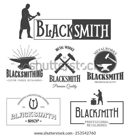 Set of vintage monochrome blacksmith labels and design elements. Vector illustration.  - stock vector
