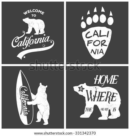 Set of vintage monochrome california emblems and design elements. Typography illustrations. California Republic bear. Grunge effect can be edited or removed.. Vector EPS8 illustration.  - stock vector