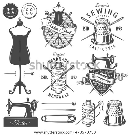 Set of vintage monochrome tailor tools and emblems. Designer toolkit. Perfect for logo, label, emblems and other signs