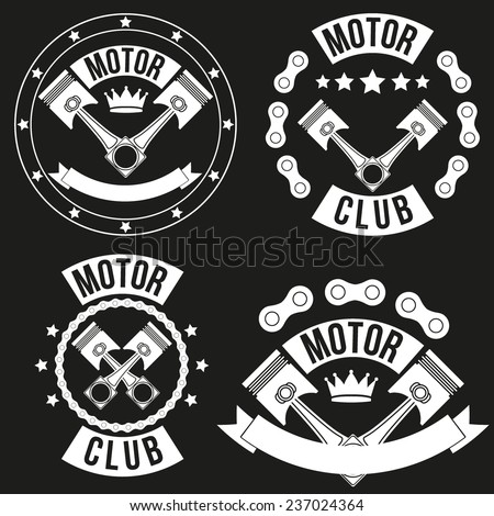 Set of Vintage Motor Club Signs and Label with chain and pistons. Emblem of bikers and riders. Vector isolated on background. - stock vector