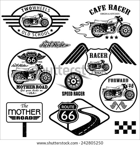 Set of vintage motorcycle badges  - stock vector
