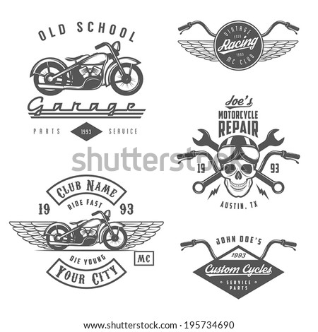 Set of vintage motorcycle labels, badges and design elements - stock vector