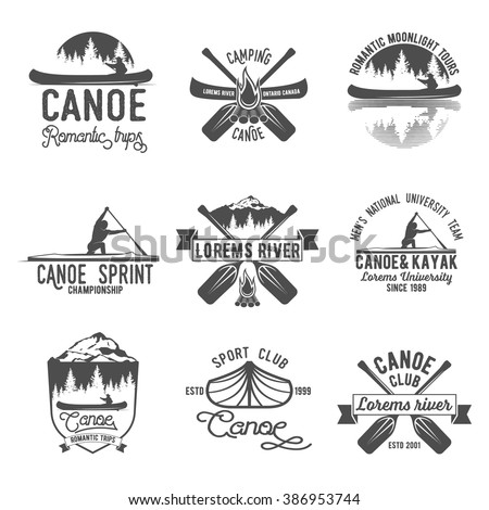 Set of vintage mountain, rafting, kayaking, paddling, canoeing camp logo, labels and badges.
