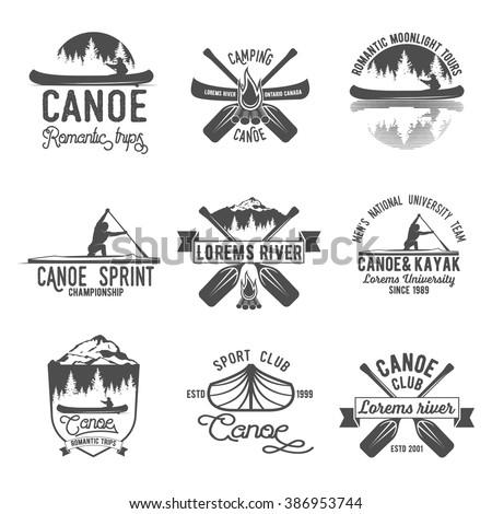 Set of vintage mountain, rafting, kayaking, paddling, canoeing camp logo, labels and badges.
