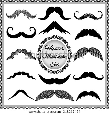 Set of vintage mustaches. Hipster mustache collection. Isolated on white background. - stock vector