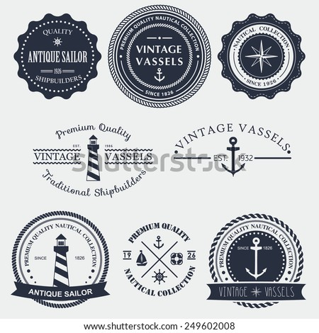 Set of vintage nautical badger and labels. Vector logo - stock vector