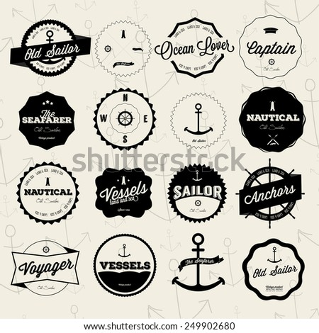 Set of vintage nautical labels and badges - stock vector