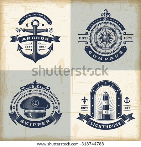 Set of vintage nautical labels. Editable EPS10 vector illustration with transparency. - stock vector