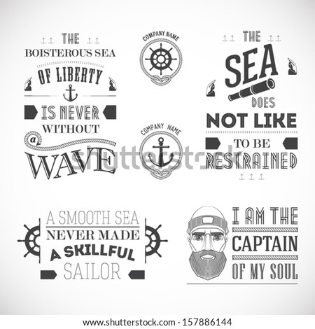 Set of vintage nautical labels, typography - stock vector