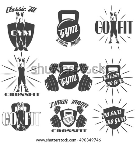 Set Of Vintage Old School Gym Crossfit Labels Logos Badges And Design Elements Isolated