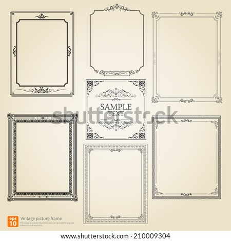Set of Vintage or Retro picture frame vector design - stock vector