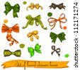Set of vintage orange, green and brown  bows. Vector illustration EPS8 - stock vector