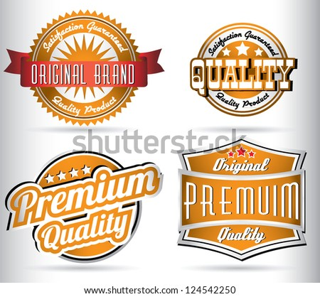 set of vintage orange quality labels - stock vector
