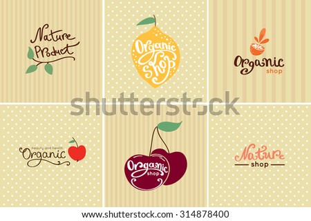 Set of vintage organic food logos and labels. Sweet cherry and lemon poster - stock vector