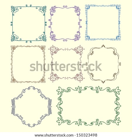 set of vintage ornamental border 3 - stock vector