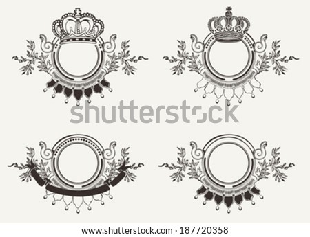 Set Of Vintage Ornate Crown Signs - stock vector
