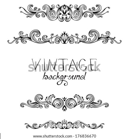 Set of vintage ornate elements for page decoration, invitation and greeting card. Retro style set of vintage ornaments and dividers.   - stock vector