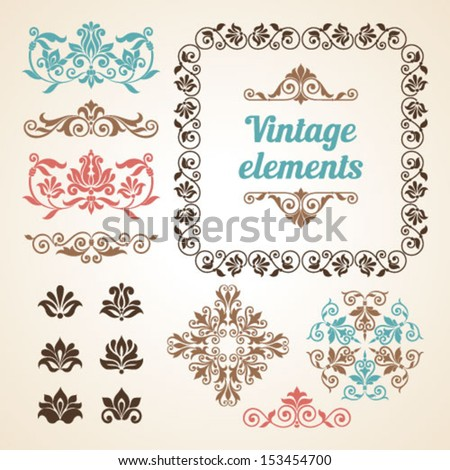 Set of vintage ornate frames with floral elements for invitation, congratulation and greeting card - stock vector