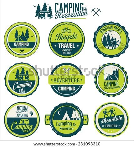 Set of vintage outdoor camp badges - stock vector