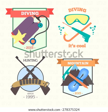 Set of vintage outdoor summer activity badges and logo emblems - stock vector