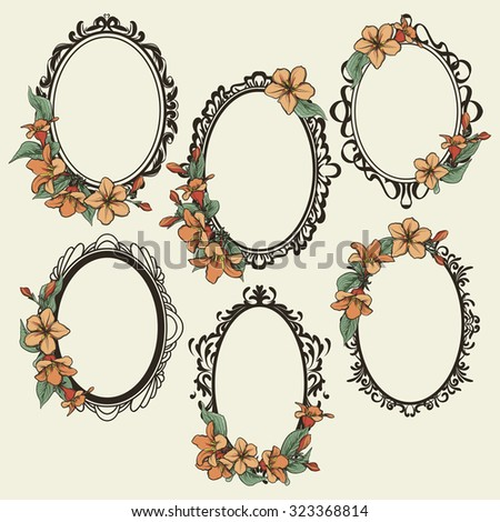 set of vintage oval frames decorated with flowers and leaves - stock vector