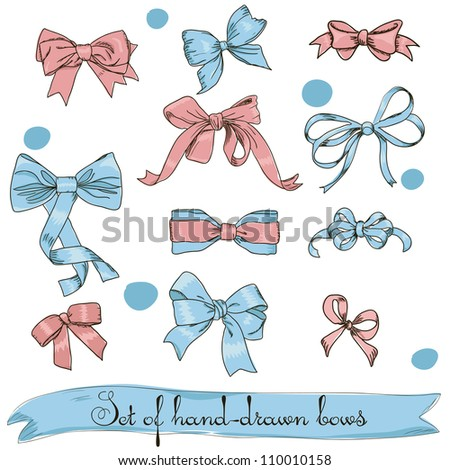 set of vintage pink and blue bows. Vector illustration EPS8 - stock vector