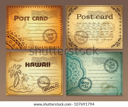 Set of vintage post cards - stock vector