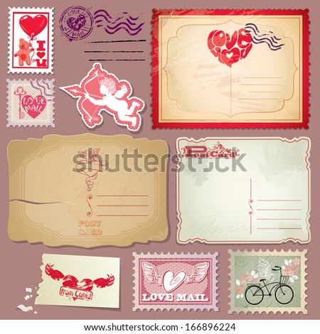 Set of vintage postcards and post stamps for Valentines Day design. - stock vector