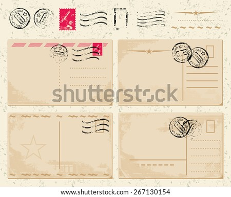 set of vintage postcards with stamps on shabby background - stock vector