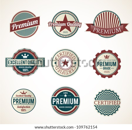Set of Vintage Premium, Original labels, graphic element  - stock vector