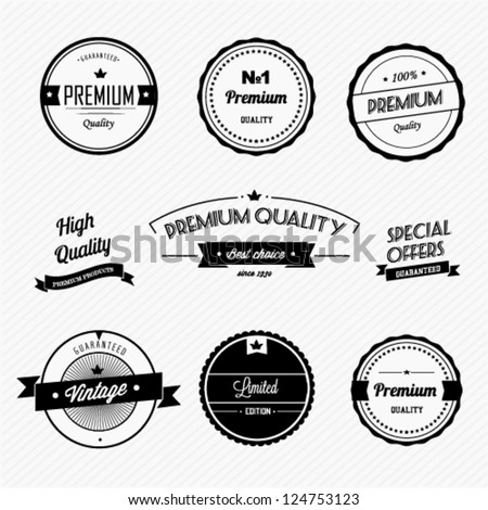 Set of vintage premium quality badges and labels