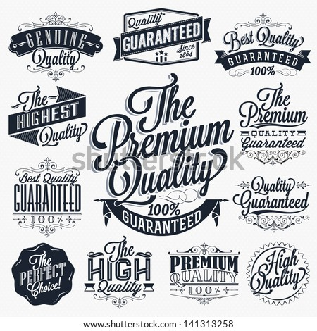 Set of Vintage Premium Quality Stickers And Elements - stock vector