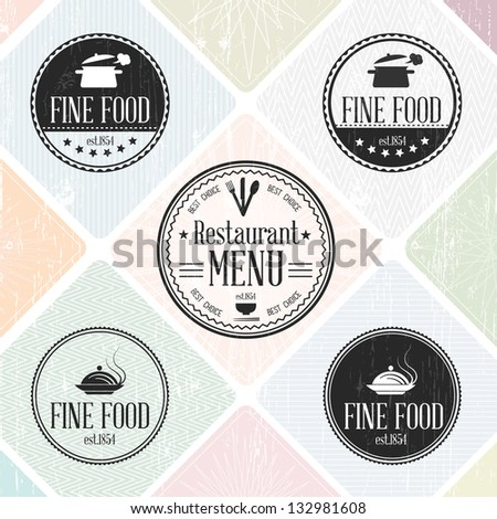 Set of vintage restaurant badges  - EPS10 Compatibility Required - stock vector