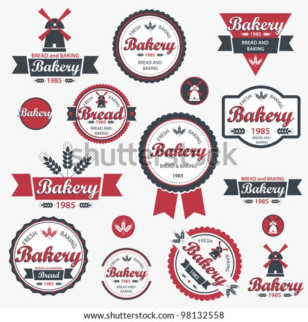 Set of vintage retro bakery badges and labels. Vector - stock vector