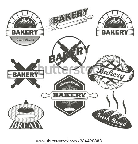 Set of vintage retro bakery labels and design elements
