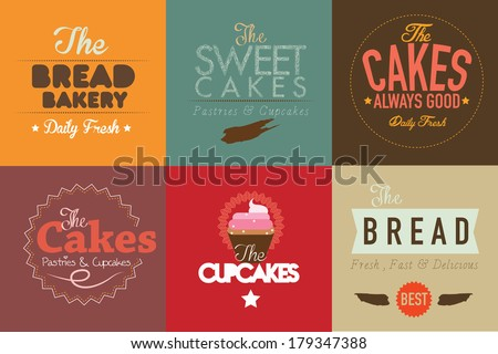 set of vintage retro bakery labels and logo badges. vector illustration - stock vector