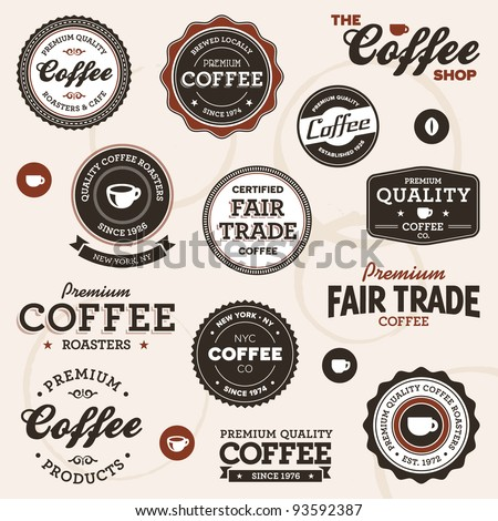 Set of vintage retro coffee badges and labels