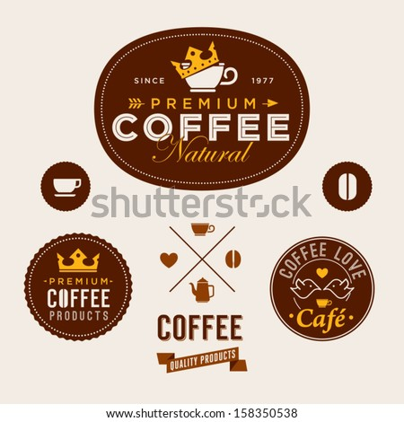 Set Of Vintage Retro Coffee Labels - stock vector