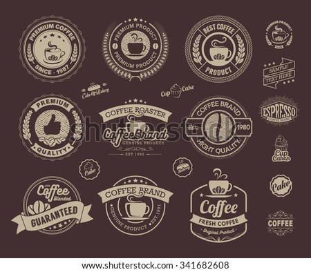 Set of vintage retro coffee labels and badges, Vintage coffee house badges vector, Vintage coffee badges and labels Vector, Vintage and Retro Labels and Badges - stock vector